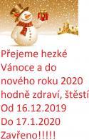 Přejeme hezké Vánoce a do nového roku 2020 hodně zdraví, štěstí
